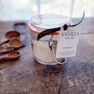 Delicious in hot chocolate, coffee or tea, sprinkled on toast or scones, or ice cream, this Organic Vanilla Sugar is a sweet treat. Spotted with gorgeous specks of vanilla bean throughout, each vintage style jar contains pieces of the actual vanilla pod to continue flavor enhancement over time. The possibilities are endless. Makes for a beautiful gift. 7 oz - packaged in a reusable, glass jar  Ingredients: organic cane sugar, organic vanilla beans