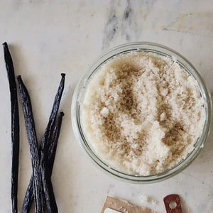 Delicious in hot chocolate, coffee or tea, sprinkled on toast or scones, or ice cream, this Organic Vanilla Bean Sugar is a sweet treat. Spotted with gorgeous specks of vanilla bean throughout, each vintage style jar contains pieces of the actual vanilla pod to continue flavor enhancement over time. The possibilities are endless. Makes for a beautiful gift.  7 oz - packaged in a reusable, glass jar