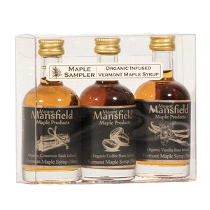 Give yourself the taste of Vermont Maple Syrup with this 3-pack sampler. Vermont maple syrup infused with organic Madagascar vanilla beans, organic Ceylon cinnamon, and organic fair-trade medium roast coffee. Makes a wonderful gift, or just the perfect way to add a bit of sweetness to your day. 3 pack. Each 1.69 oz