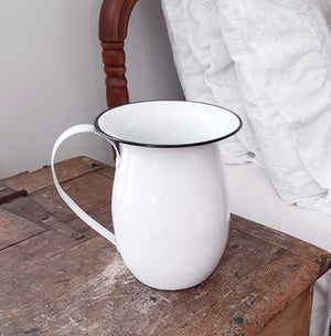 Vintage Style Enamel Pitcher with Black Rim