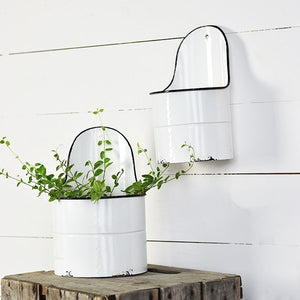 Vintage Enamel Style Wall Buckets, Set of Two