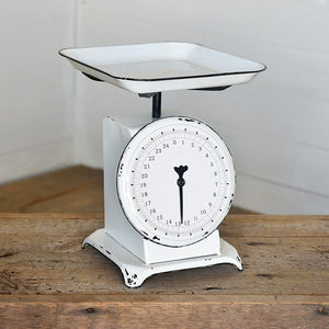 Vintage Style Kitchen Scale in White
