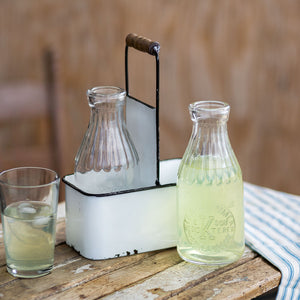Vintage Style Milk Bottle and Carrier Set