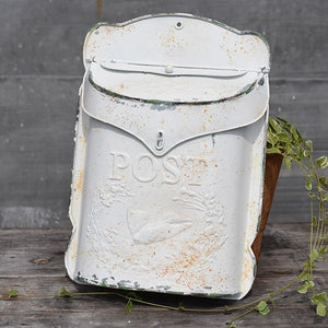 Vintage Post Mailbox in White