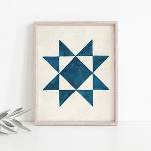 American farmhouse style is infused in this Watercolor Quilt Block Wall Art Print, Blue. The simplicity and boldness of this quilt block of brightens any room and adds a bit cheer. Professionally printed on high quality archival fine art paper with archival inks. Listing is for the art print only, frame not included. 8 x 10