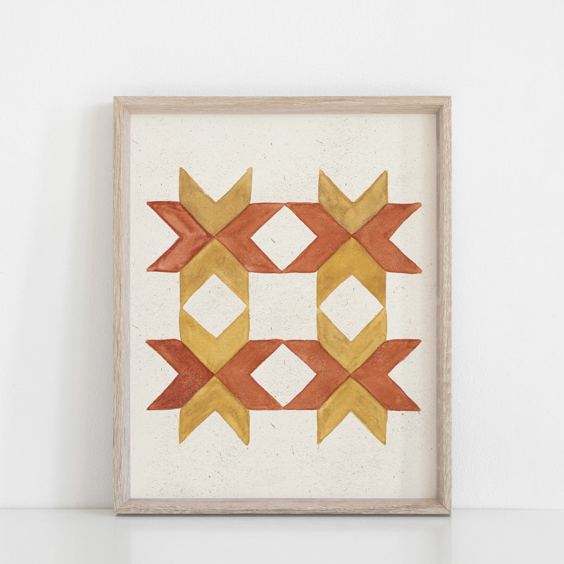 American farmhouse style is infused in this Watercolor Chevron Quilt Wall Art Print, Mustard and Rust. The simplicity and boldness of this quilt block brightens any room and adds a bit cheer. Professionally printed on high quality archival fine art paper with archival inks. Listing is for the art print only, frame not included. 8 x 10