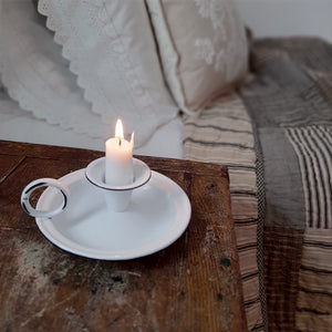 White Chamberstick Taper Candle Holder