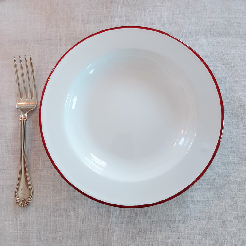 White Enamel Plate with Red Rim