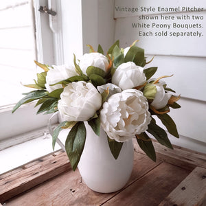 White peonies in White Enamel Pitcher