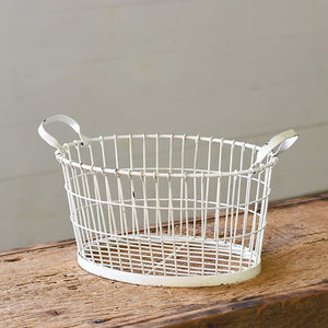 Antique White Wire Basket
