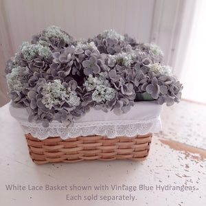 White Lace and Wood Weave Basket