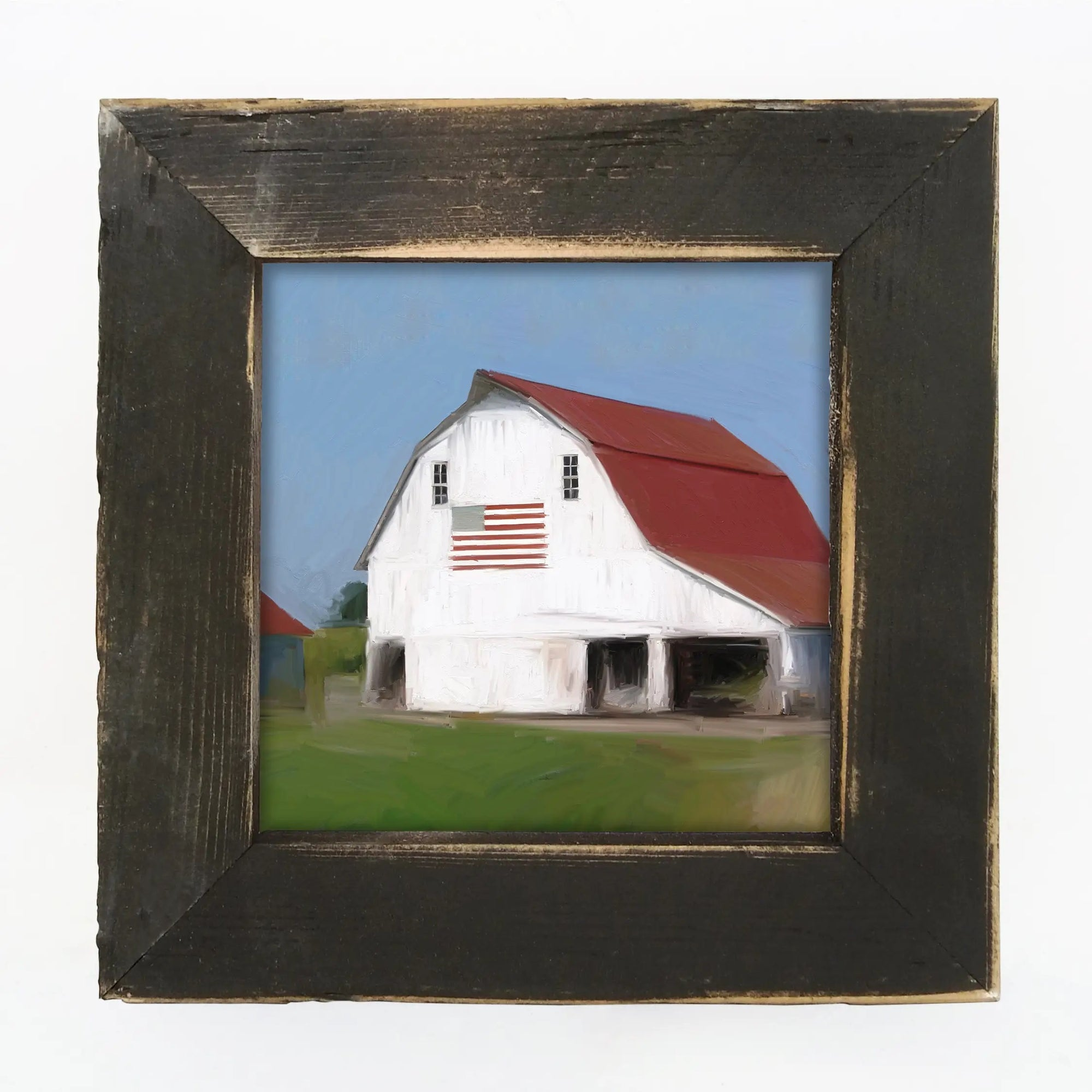 "American farmhouse style is made easy with this patriotic barn. This White Barn with Flag Wall Art with Barnwood Frame adds a cheerful and bright touch to any room. The aged black frame is made of barnwood reclaimed from centuries-old wood from upstate NY. The artwork is printed on high-quality matte paper with archival inks and mounted permanently to 1/8"" hardboard which is mounted to the frame. Made in the USA . 8.5"" x 8.5"""