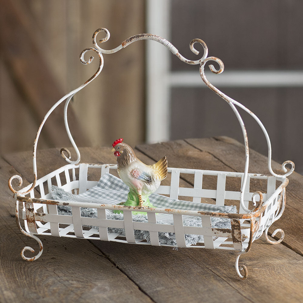 White Woven Wire Basket