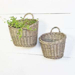 Wicker Wall Baskets, Set of Two
