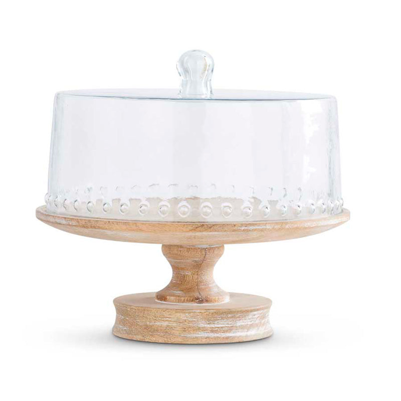 Wood Cake Stand with Café Cloche