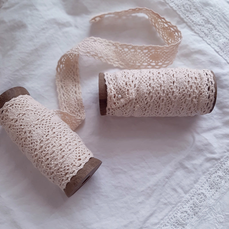 "Our Wood Spools with Lace have tons of vintage charm. The set of two features vintage style wooden spools with antique ivory lace ribbon.Use them as home decorations packed in baskets and bowls. The lace ribbon is perfect for DIY projects and giving gifts an extra special touch. The wood spools are reusable for twining more jute or as decorative accessories themselves!  Each spool contains approximately 5 yards of lace ribbon. Set of two. 2"" l x 2"" w x 4.5"" h"