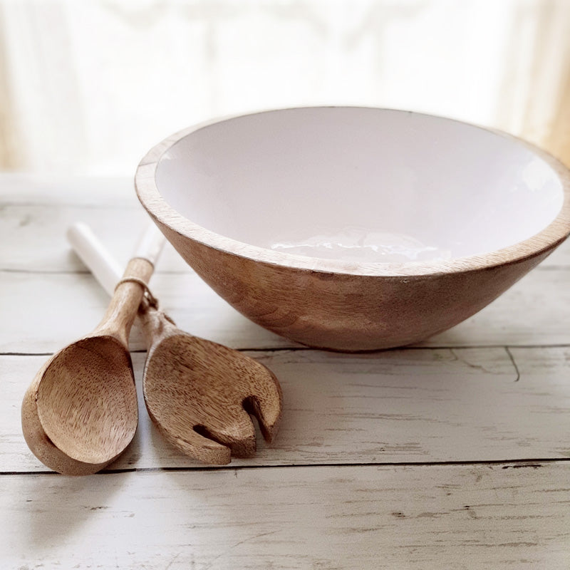 Wood and White Bowl with Utensils