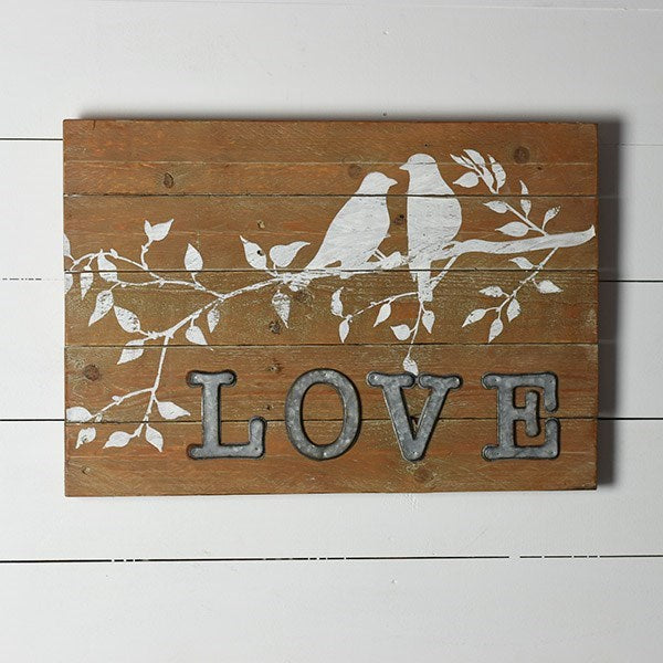 Wood and Tin Love Sign