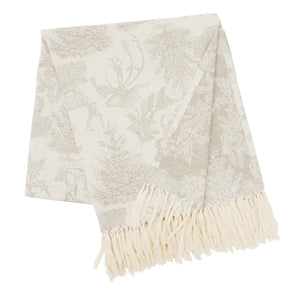 "Transform your favorite space with the refined style and complete comfort of this woodland Stag Throw. This woven cotton throw features a stag and forest design in neutral beige, cream and ivory that is perfect to add a touch of sophistication to your cozy winter home. Crafted of 100-percent cotton, finished with a fringe edge, this throw is machine washable for easy care. 50""W x 60""H"