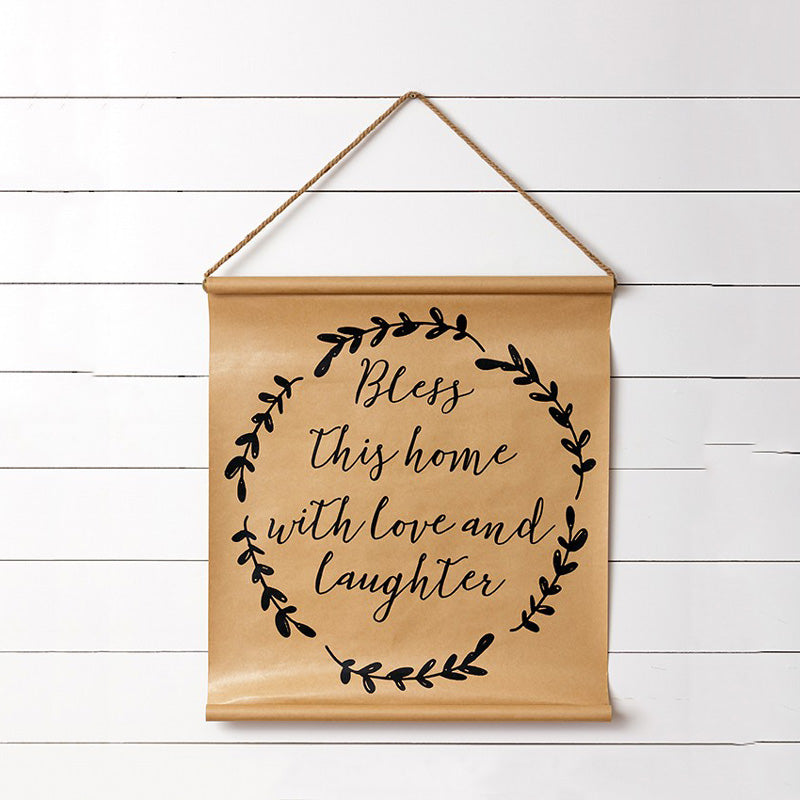 "There's no place like home and our Bless This Home Scroll Banner is a fitting accent for any farmhouse. Crafted with paper with scripted lettering and leaf design, this artful scroll will add warmth with its beautiful sentiment to any room. 24.5"" x 26"" H"