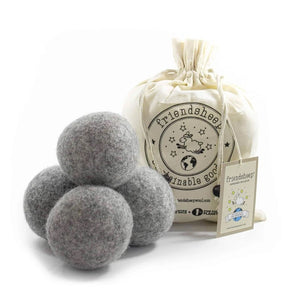 Our amazing Friendsheep Eco Dryer Balls naturally soften and fluff your laundry while helping you reduce drying time by 20% to 40% depending on load size. Hand made from 100% organic and cruelty-free certified New Zealand wool to the core - no fillers or additives. In additional to being 100% compostable, these eco-friendly dryer balls increase dryer efficiency.  Their movement helps separate your fabrics allowing the heat to better flow between them. This will reduce wrinkles, static cling, and will help y