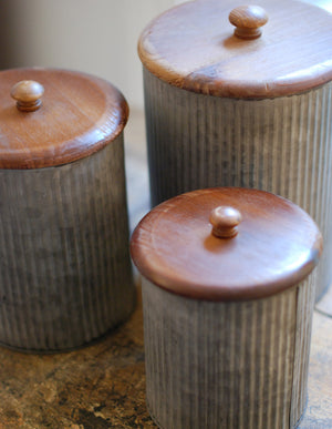 Galvanized Canisters with Wood Lids