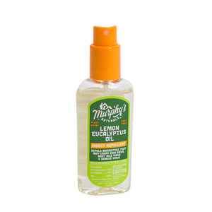 Murphy's Naturals plant-based & DEET-free Lemon Eucalyptus Oil Insect Repellent Spray goes on easy with a cool, refreshing scent.  Made with Citriodiol® – a clinically proven plant-based insect repellent that is naturally and sustainably sourced. This 4 oz. pump spray bottle contains 30% oil of lemon eucalyptus — the only plant-based ingredient recommended by the Centers for Disease Control and Prevention (CDC). Good for the family, good for the planet!
