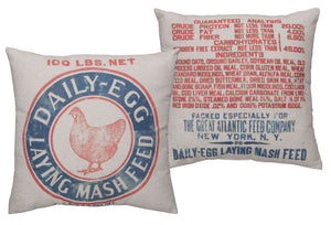 Chicken Mash Feed Sack Pillow