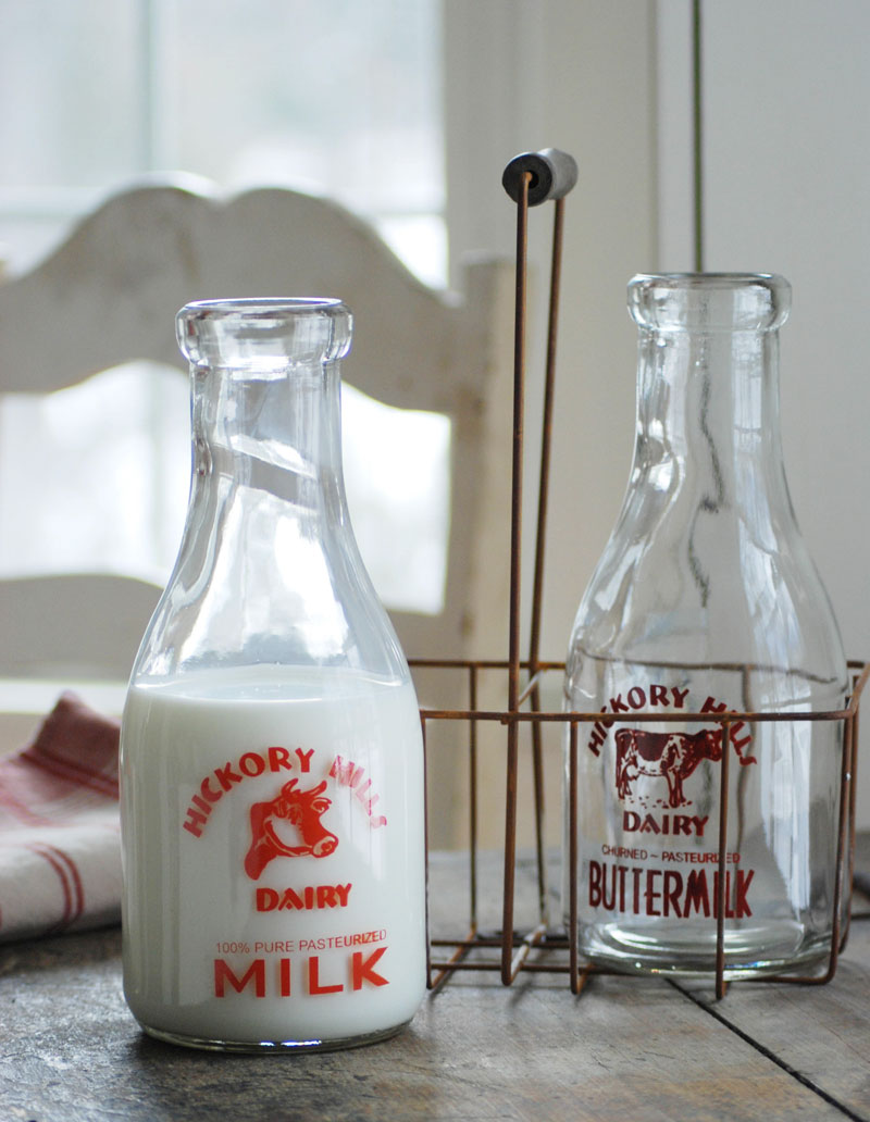 Vintage Milk Bottles and Carrier