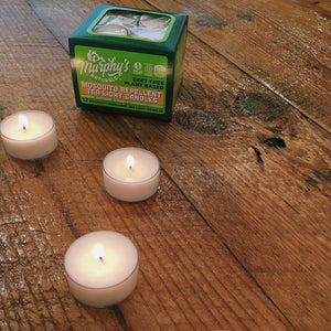 Now you can add a little ambiance to your alfresco dining without inviting mosquitoes to the party. Murphy's Naturals Mosquito Repellent Tea Light Candles are infused with a high concentration of citronella, rosemary, peppermint, lemongrass, cedarwood, soy wax, and beeswax—a clean, natural way to keep bugs at bay.