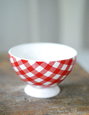 Red and White Gingham Latte Bowl