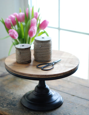 Rustic Wood and Metal Cake Stand