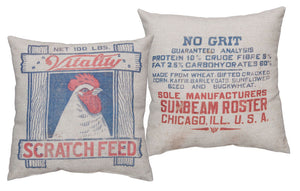 Chicken Scratch Feed Sack Pillow