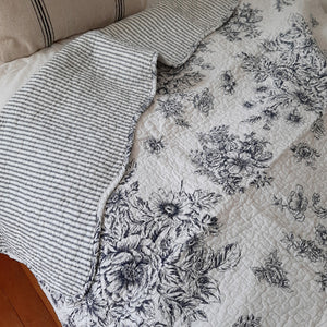 "Add a cozy, vintage farmhouse feel to your living room or reading nook with this quilted throw. Our Black Toile and Ticking Stripe Quilted Throw is made of 100% cotton. It features a black and cream vintage floral print on one side. The back has a simple black ticking stripe, and it has a scalloped edge. 48""W x 60""H"