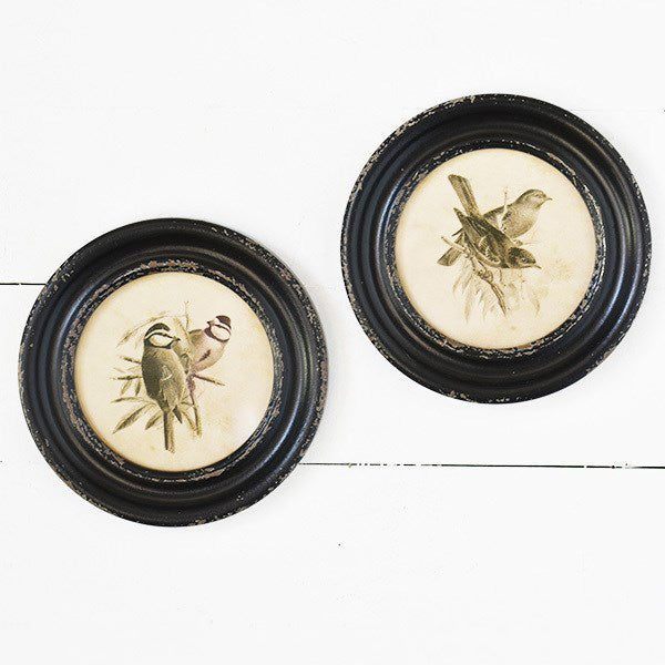 "Celebrate nature with these Round Vintage Bird Prints. Inspired by flea market finds, these reproductions, with their distressed round frames are sure to add sweet charming style to any room. Set of two, 9.5"" Diam"