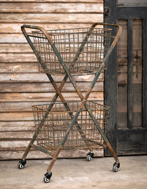 Vintage Style Wire Basket Cart