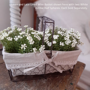 Linen and Lace Lined Wire Basket