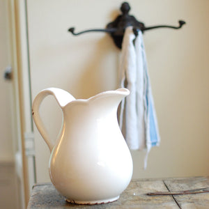 White Farmhouse Stoneware Pitcher