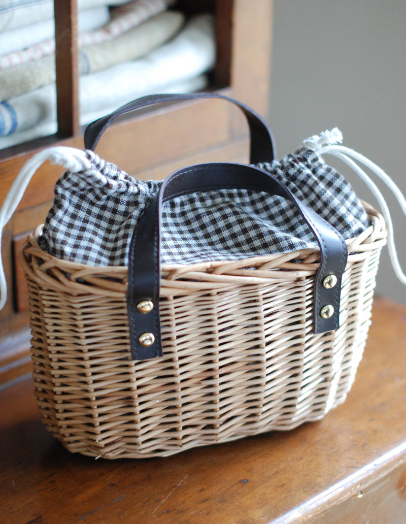 Wicker Basket With Gingham Fabric