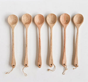 Hand-Carved Mango Wood Spoons, Set of Six