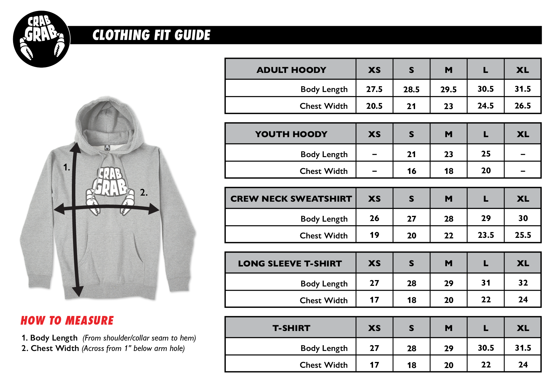 Crab Grab Clothing Fit Guide