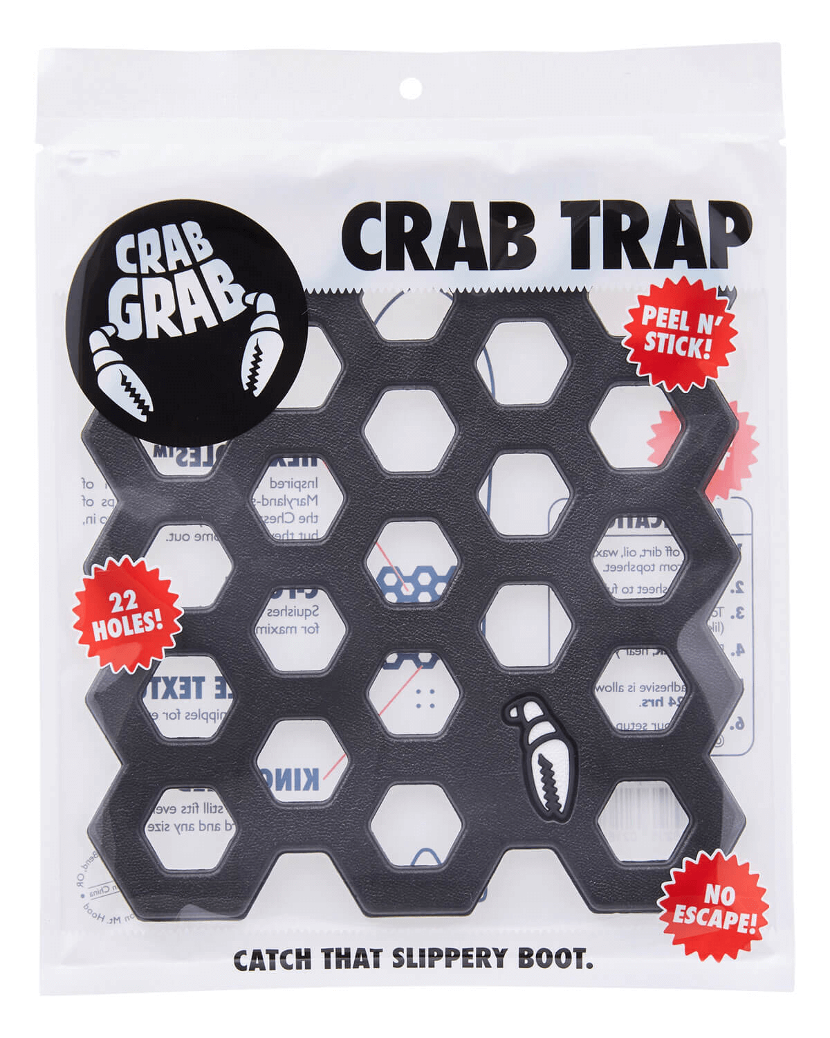 Crab Grab Traction Crab Trap Black - Front view with packaging