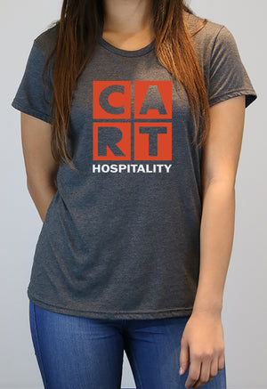 Women's short sleeve t-shirt - hospitality grey/red logo
