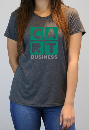 Women's short sleeve t-shirt - business grey/green logo