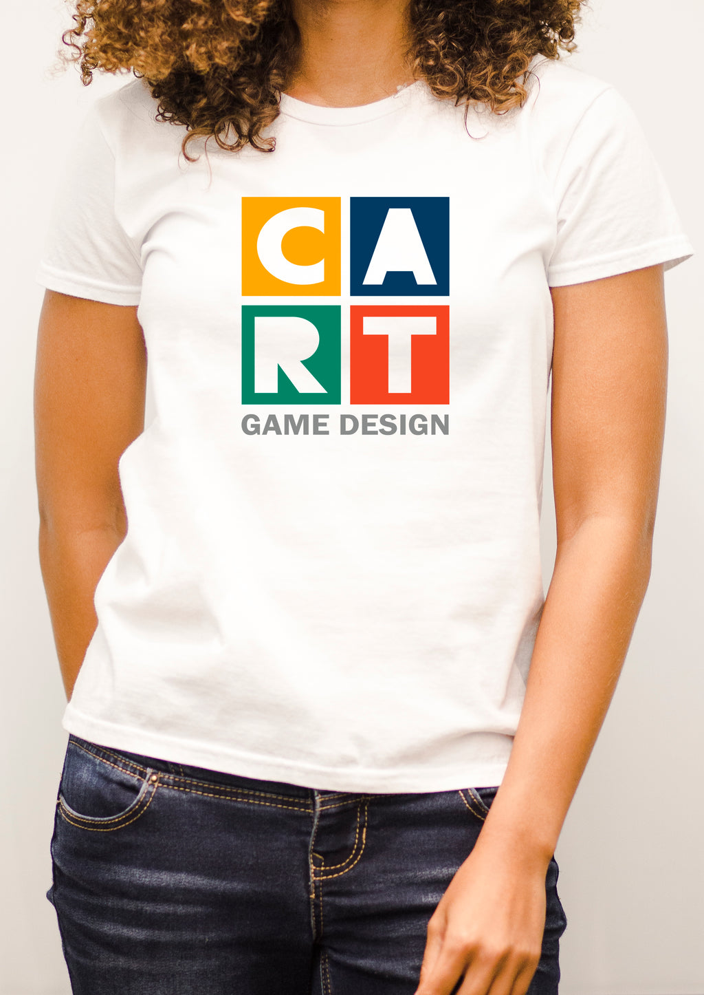 Women's short sleeve t-shirt - game design multi-colored/grey
