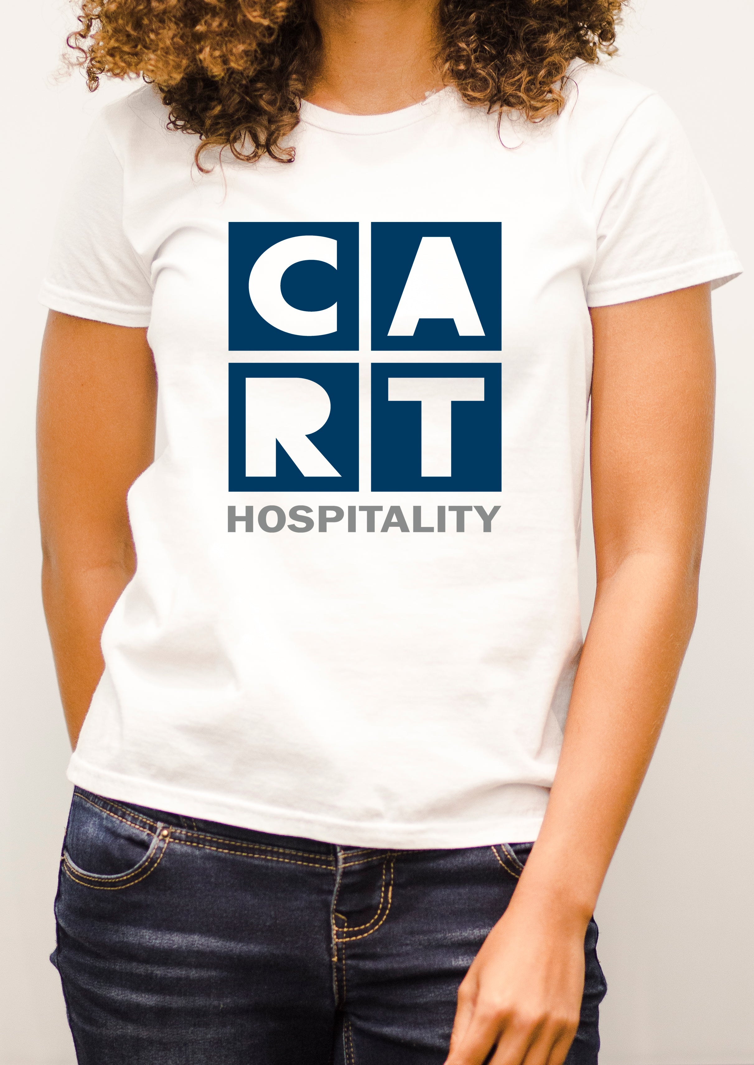 Women's short sleeve t-shirt - hospitality grey/blue-colored logo