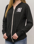 Women's Thin Zip Hoodie / Slender Fit - White CART Logo