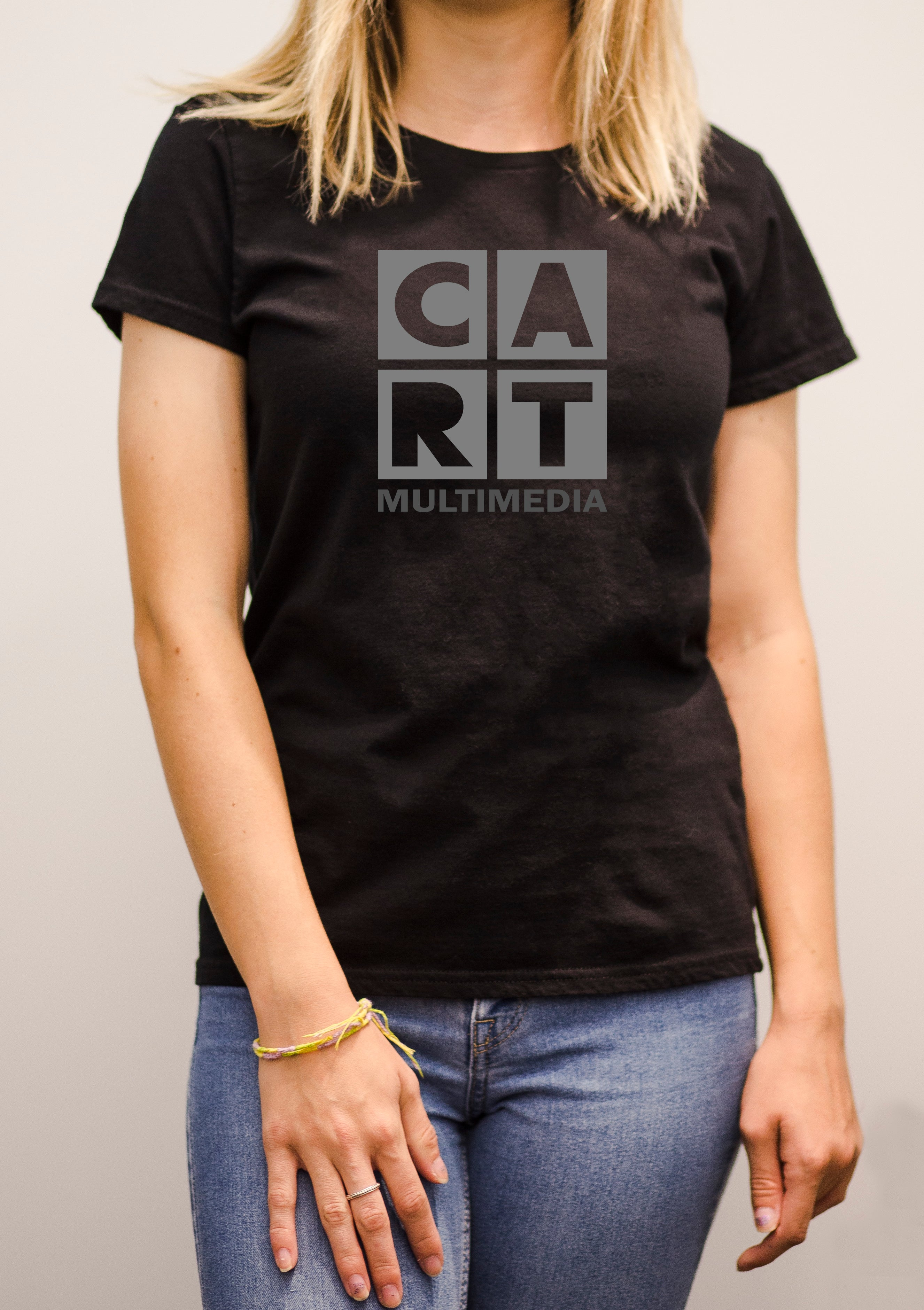 Women's short sleeve t-shirt - Multimedia black/grey logo