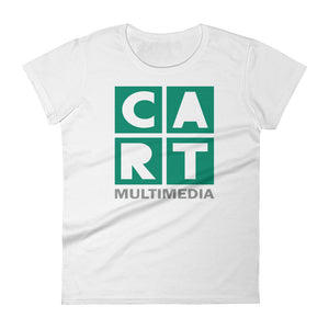 Women's short sleeve t-shirt - multimedia grey/green on white