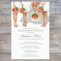bridesmaid luncheon invitations with bridesmaids holding bouquets